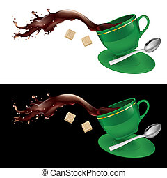 Coffee in green cup. Illustration on white and black...