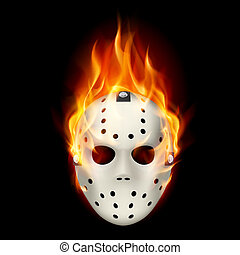 Hockey mask - Burning hockey mask. Illustration on black...