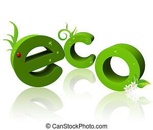 """3D """"eco"""" text with reflection"""