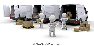 Delivery fleet - Workers loading boxes into delivery vans