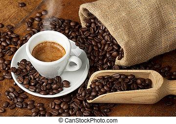 café, copo, Juta, saco, colher, cheio, café,...