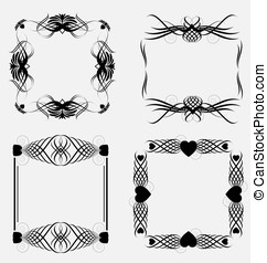Creative collection of decorative ornamental frame elements