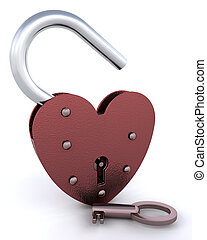 Heart shaped padlock with key