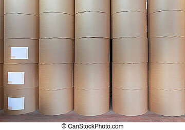 Paper rolls - Big pile of printing paper rolls in warehouse