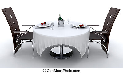 Romantic dinner setting for two