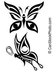 Butterfly - Two butterfly tribal tattoos