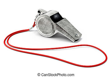 whistle - metal whistle isolated on a white background