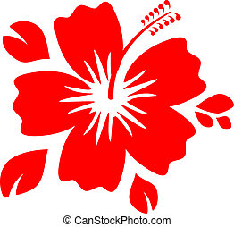 Hibiscus Flower - Outline Red Hibiscus Flower isolated on...