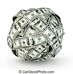 cash - sphere of money isolated on a  white  background
