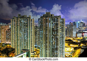 Illuminated architecture in Hong Kong at night