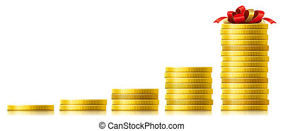 Concept of capital growth - Stacks of golden coins. Concept...