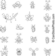 Cartoon insects - Some cartoon insects (a butterfly, a fly,...