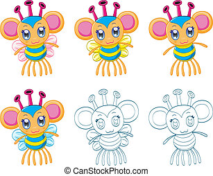 Cartoon chibi fantasy creatures