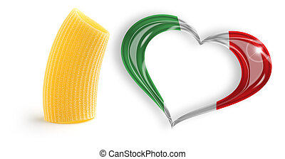 one macaroni and heart with italian flag colors