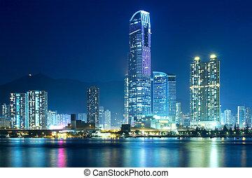 Tsuen Wan in Hong Kong at night