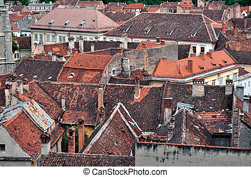 House roofs in Brasov city, Romania
