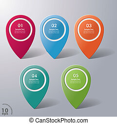 Five Colorful Infographic Markers - Five colorful...