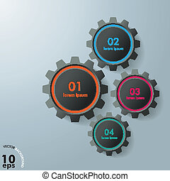 Four Gears Infographic Design Black Edition - Colorful...