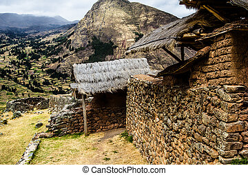 Peru, Pisac (Pisaq) - Inca ruins in the sacred valley in the...