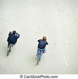 bicyclists - city bicyclists