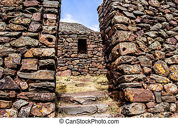 Peru, Pisac Pisaq - Inca ruins in the sacred valley in the...