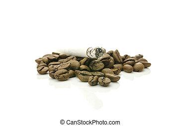 Cigarette on coffee grains