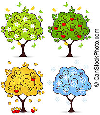 tree four seasons - Four seasons of spring, summer, autumn,...