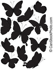 silhouette butterflies - set of silhouette butterflies...