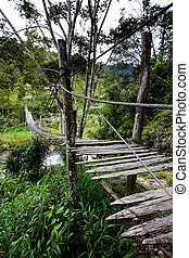 Hanging Bridge - An old hanging bridge over a river
