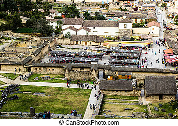 Ollantaytambo - old Inca fortress and town the hills of the...
