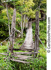 Hanging Bridge - An old narrow hanging bridge