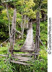 Hanging Bridge - An old narrow hanging bridge