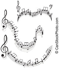 Music Two treble clefs and notes for your design on a white...