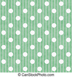 Green and White Polka Dot and Stripes Fabric Background that...