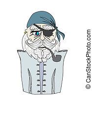 Old pirate captain , doodle portrait