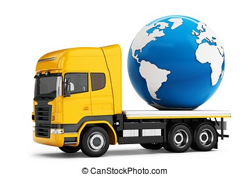 3d truck with earth globe delivery