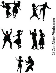 dancers in silhouette - retro dance styles in silhouette