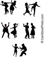 dancers in silhouette  - retro dance styles in silhouette