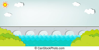 Vector applique. Landscape with bridge - Vector applique....