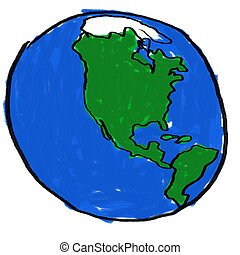 World - A childlike drawing of the earth from the western...