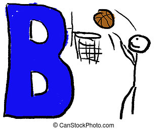 Letter B - A childlike drawing of the letter B colored Blue,...
