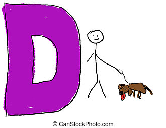 Letter D - A childlike drawing of the letter D, with a stick...