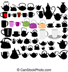 Set of cups and kettles