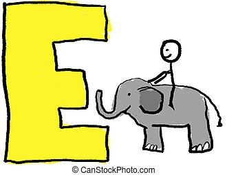 Letter E - A childlike drawing of the letter E, with a stick...