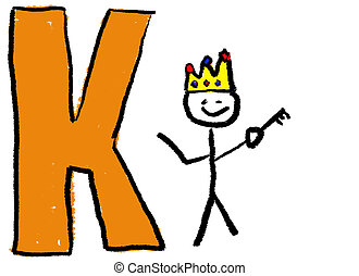 Letter K - A childlike drawing of the letter K, with a stick...