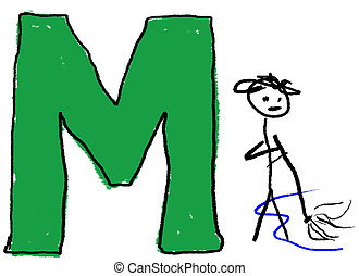 Letter M - A childlike drawing of the letter M, with a stick...