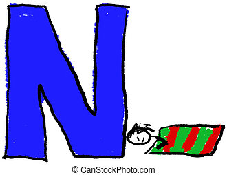 Letter N - A childlike drawing of the letter N, with a...