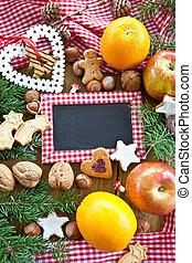 Hintergrund zu Weihnachten - Hintergrund mit Plaetzchen,...