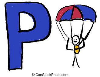 Letter P - A childlike drawing of the letter P, with a stick...
