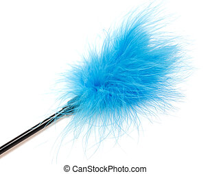 Blue Feathered Stick - sex toy on white background